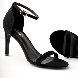 Ana Black Suede Ankle Strap Heels
